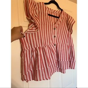 SHEIN red and white striped top